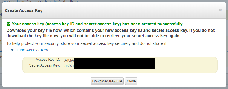 Access key ID - Secret Access Key created