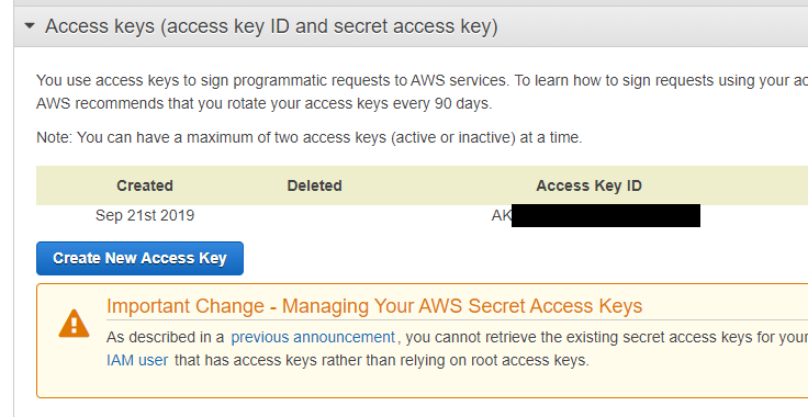 create Access key ID - Secret Access Key pair